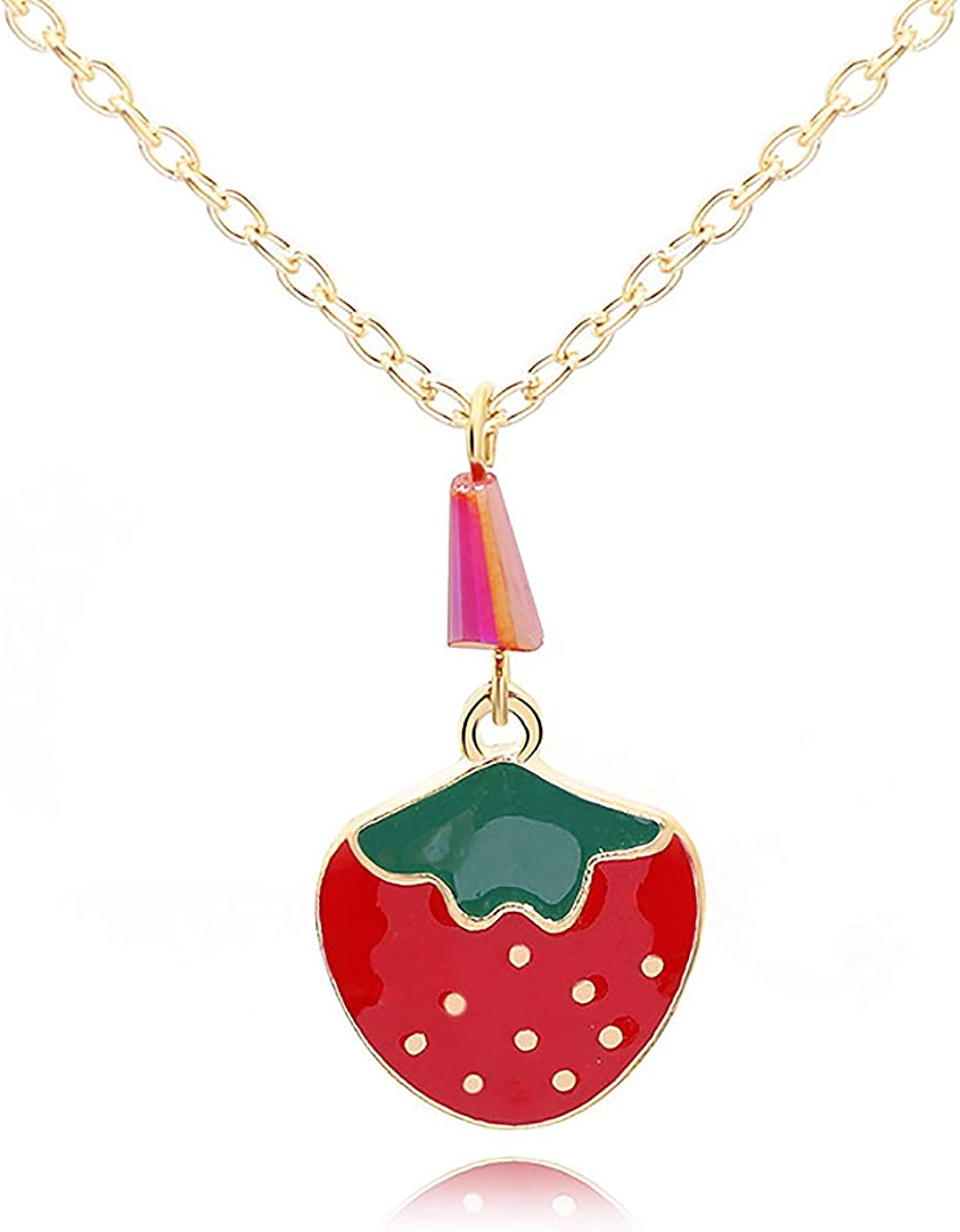 XUN Zhe Cute Fruit Strawberry Pendant Necklace Minimalist Red Strawberry Clavicle Chain Necklace Jewelry for Women and Teen Girls Everyday Wear