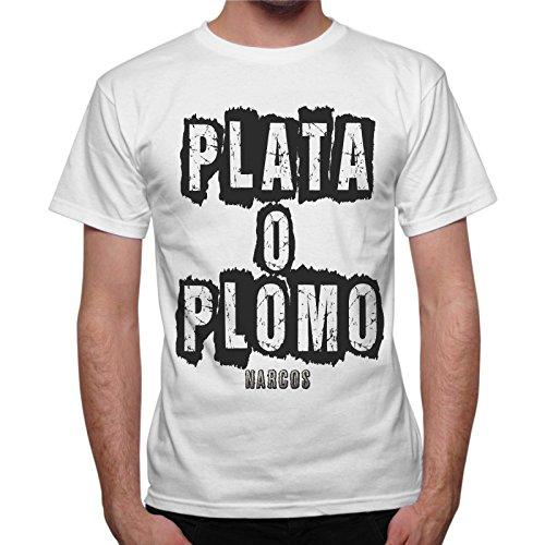 Thedifferewnt - Camiseta con mensaje Plata o Plomo de la serie Narcos de Pablo Escobar, color blanco Bianco S