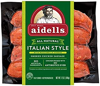 Aidells Smoked Chicken Sausage, Italian Style with Mozzarella Cheese, 12 oz. (4 Fully Cooked Links)