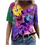 YAnGSale Women Casual T-Shirt Tie Dye Blouse Butterfly Painting Tee Tops Short Sleeve Shirt V-Neck Tunic Top (Multicolor, XL)