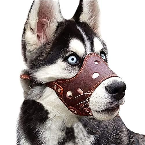 Gulunmun Einstellbares Leder-Maulkorb für Hunde, Schutzmaske für Haustier-Maulkorb verhindert das Beißen Kauen Bellen Braun Große PU-Kortikalis