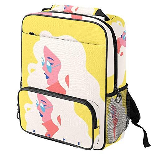 TIZORAX Bolsa escolar para niñas y niños, mochila para estudiantes, modelo rubio, con gafas de sol, para mujer, mochila de viaje, informal, para viajes, senderismo, camping