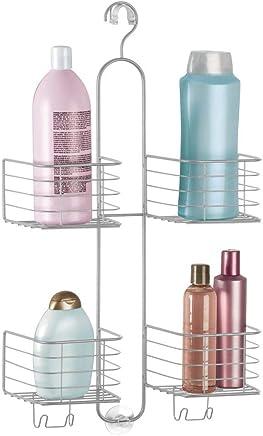 mDesign Estantería ducha sin taladro - 4 cestas– Accesorios ducha para organizar productos de higiene como champú, gel, acondicionador – Almacenamiento extra grande – Color plateado