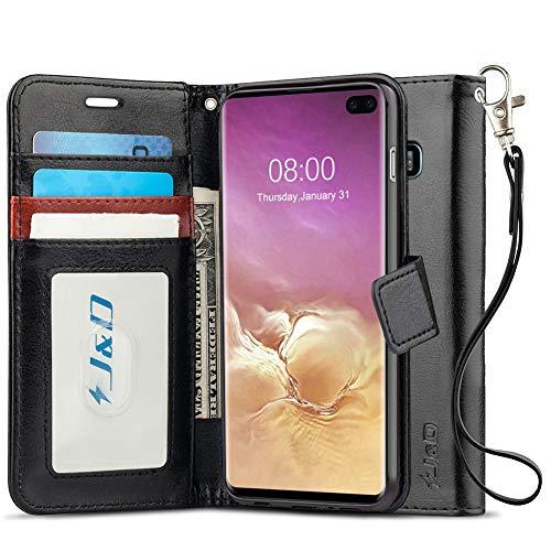 JundD Kompatibel für Galaxy S10 Plus/S10+ Leder Hülle, [RFID Blocking Standfuß] [Slim Fit] Robust Stoßfest PU Leder Flip Handyhülle Tasche für Samsung Galaxy S10 Plus Hülle - [Nicht für S10e/S10/S10 5G]