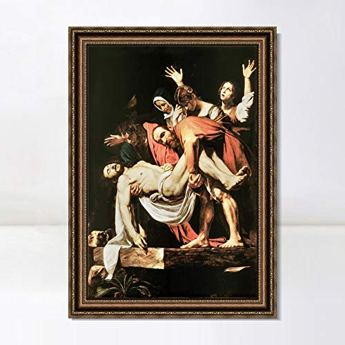 """INVIN ART Framed Canvas Art Giclee Print The Deposition by Michelangelo Merisi da Caravaggio Wall Art Living Room Home Office Decorations(Vintage Embossed Gold Frame,28""""x40"""")"""