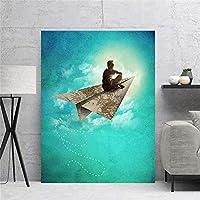 壁アートキャンバス無料で飛ぶポスターカラーリビングルームの青いモダンな家の装飾の写真50x70cm(19 7x27 6インチ)フレームなし