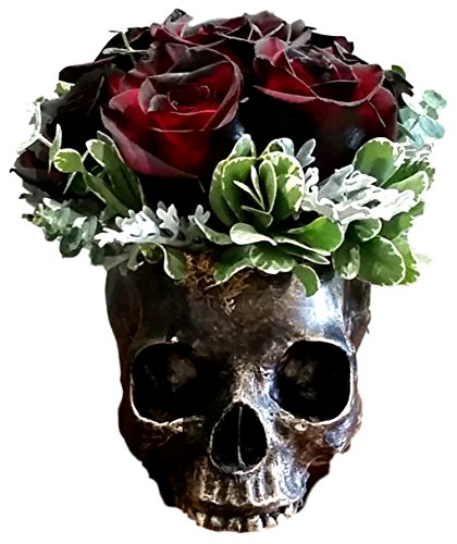 Ebros Gift Bronzed Day of The Dead Skull Bowl Figurine 7' Long Skeleton Head Gardening Planter Sculptural Vessel Treat Container Decorative Bowl