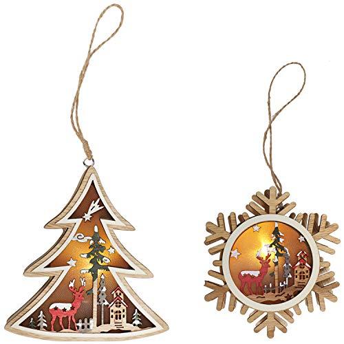COM-FOUR® 2x houten hanger 12x 12 cm met LED lamp voor de kerstboom - houten kerstboomversiering - kerstversiering met verschillende motieven [selectie van motieven varieert] (2 delen - LED - gekleurd)