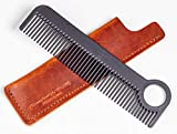 Chicago Comb Model 1 Carbon Fiber Comb + English Tan Horween leather sheath, Made in USA, ultimate pocket and travel comb, ultra smooth strong & light, anti-static, premium American leather sheath
