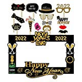SWYOUN 14PCS Glitter 2022 Happy New Year's Eve Party Photo Booth Props Supplies with Photo Frame