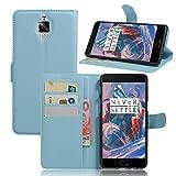 HS-TOP Caracola OnePlus 3, OnePlus 3Case, Construido en [Card Slot] Funda–Funda de Piel con Wallet Ultraslim Stand Case Flip Case Cover para OnePlus 3A3000, Azul