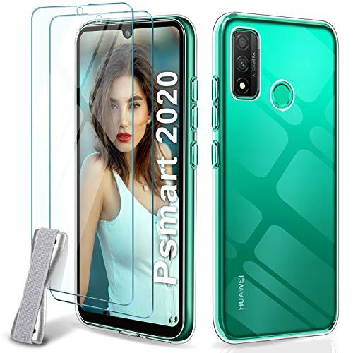 Younme Cover per Huawei P Smart 2020 Custodia, Trasparente Sottile Silicone TPU Case + [2 Pack] Pellicola Protettiva in Vetro Temperato [con Antiscivolo Mano Cinturino] per Huawei P Smart 2020