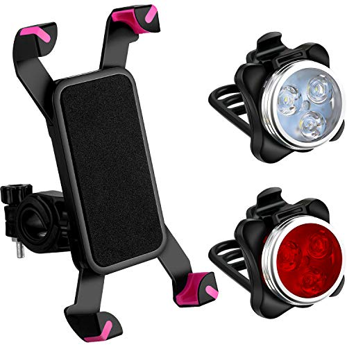 3 Pieces USB Rechargeable Bicycle Light Front Back Bike Lights and Bike Phone Mount Anti Shake Bicycle Phone Mount Holder for Bike Riding Accessories