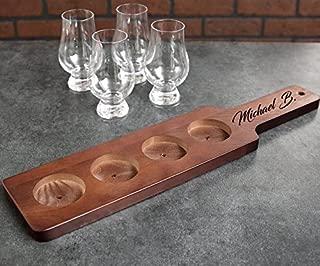 HinLot 3 Slots Bamboo Wine Serving Display Rack Flight Paddle Board for Wine Glass Jars 1