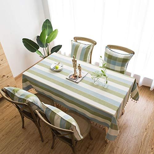 sans_marque Mantel rectangular para decoración de mesa de cocina, elegante, tela de algodón y lino con borla, a prueba de polvo, lavable, 140 x 200 cm