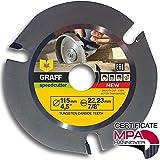 Hardmetal GRAFF Speedcutter Disco de Corte Amoladora Madera 115mm / 125mm, TCT Hoja de Sierra Circular para Madera 3 Dientes (115 mm)