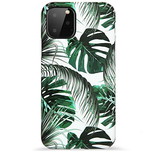 Reejax iPhone 11 Pro Max Case with Glass Screen Protector, Cute Green Leaf for Girls Women Best Protective Slim Fit Clear Bumper Glossy TPU Soft Silicon Cover Phone Case for iPhone 11 Pro Max