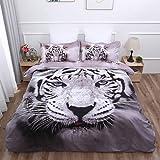 WONGS BEDDING Bettwäsche 3D Tiger Bettbezug Set 200x200 cm Bettwäsche Set 3 Teilig Bettbezüge Mikrofaser Bettbezug mit Reißverschluss und 2 Kissenbezug 50x75cm