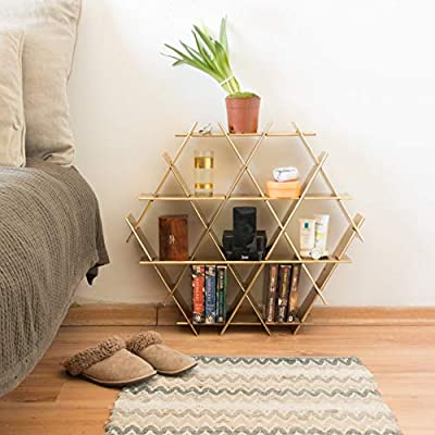 Book Shelf With Hexagonal Design In Gold Color