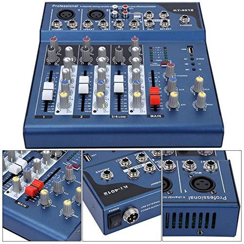 Jacksking Professioneller Bühnenmixer, professioneller 4-Kanal-Dual-LED-Anzeige, geräuscharmer Bühnenmixer mit USB-MP3-Modul, Mixer, Stereomixer(#2)