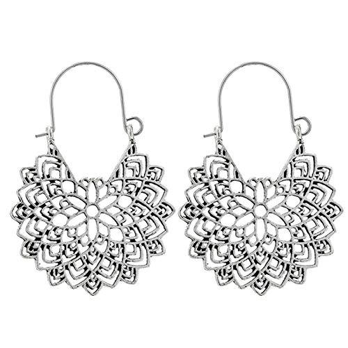Ruby569y - Pendientes de aro para mujer, diseño geométrico, hueco, estilo bohemio, para mujer, joyería de moda, accesorio de regalo – 9026, plata
