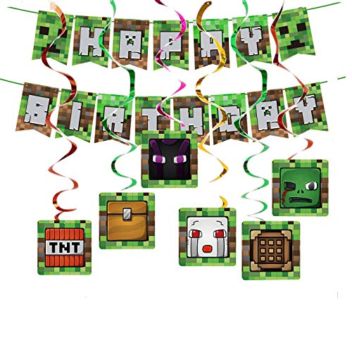 Pixels Miner party supplies Pack Includes Pixels Miner Banner Hanging Swirls for Pixels Miner party decoration