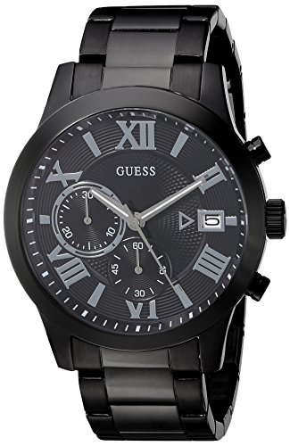 GUESS Men's U0668G2 Dressy Gunmetal Stainless Steel Multi-Function Watch with Chronograph Dial and Deployment Buckle