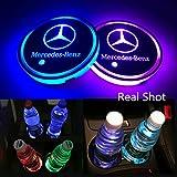 車用 LED ドリンクホルダー レインボーコースター 車載 ロゴ ディスプレイライト LEDカーカップホルダー マットパッド (ベンツ Benz)