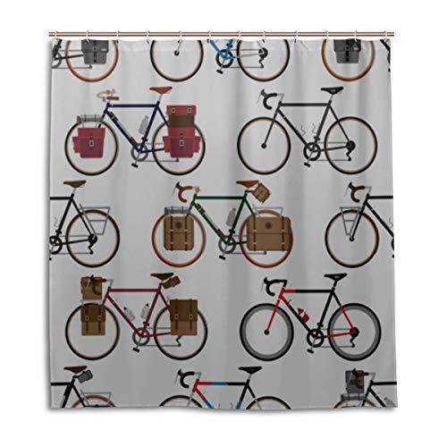 JINCAII Badezimmer Fenster Volant Vorhänge Fahrrad Rad Radfahren Spiel Sport Duschvorhänge Für Badezimmer 66 X 72 Zoll maschinenwaschbare wasserdichte Badezimmer Vorhänge