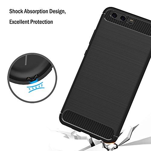 AICEK Huawei P10 Hülle, Schwarz Silikon Handyhülle für Huawei P10 Schutzhülle Karbon Optik Soft Case - 6