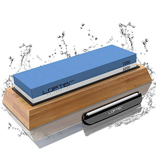 Knife Sharpening Stone, LOFTER Professional Knife Sharpener 1000/6000 2 Side Grit Whetstone, Premium Waterstone Kit with Non-Slip Bamboo Base & Angle Guide, Best Wet Stone Kitchen knife Sharpening Kit
