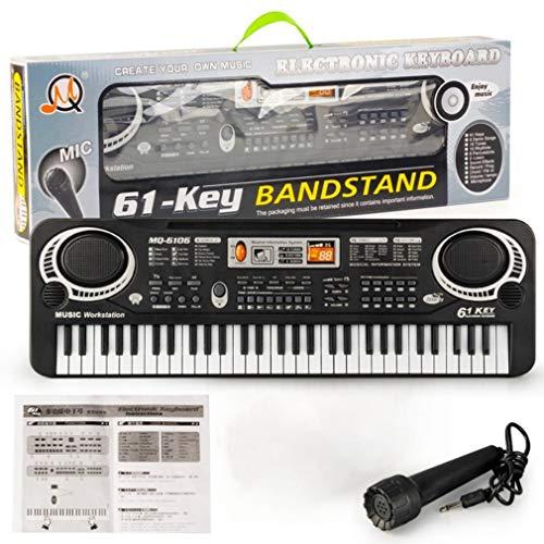 61 Key Kids Elektronisch Digitaal Toetsenbord Elektrisch Orgel Met Willekeurige Microfoon Zwart-Wit