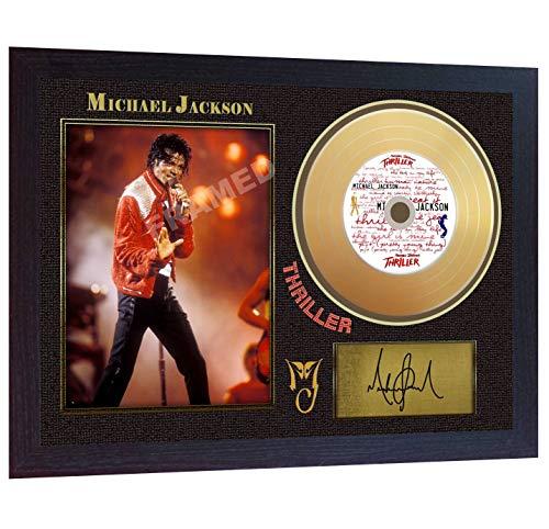 SGH SERVICES Michael Jackson Thriller Mini Gold Vinyl CD signiert gerahmt Foto
