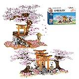 Myste Sakura 1814 - Decorazione romantica per albero con luci a LED, motivo: fiori di ciliegio, modello paesaggistico con scala & recinzione & piastre di base, compatibile con casa LEGO