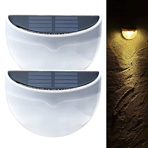 【日本国内検品】Jhope LED ソーラーライト 2個セット 屋外 外灯 暖色 電球色 防水 自動点灯 両面テープ付き ホワイト おしゃれ ガーデン 庭 フェンス 柵 デッキ 駐車場 玄関 階段 足元 壁