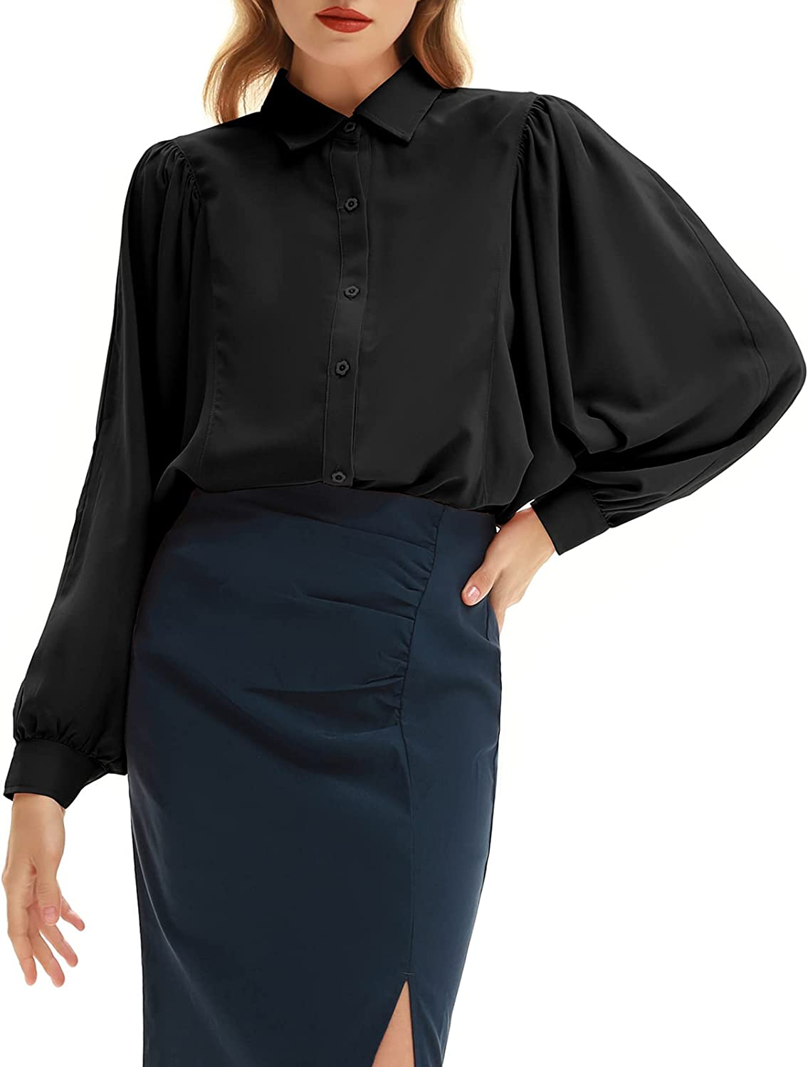 Belle Poque Women Cheap SALE Start Lantern Long Tops Sleeve Free shipping anywhere in the nation Button Shirts Pleated