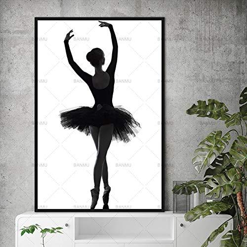yaoxingfu Sin Marco Cuadros de Pared Cuadros de decoración de Arte Bailarina Elegante Ballet Lienzo Moderno ng Arte de Pared para Sala de Estar Sin Marco 40x60 cm