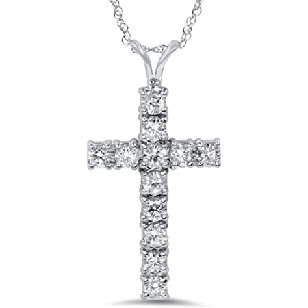 1//2 CT Round Cut Diamond Cross Pendant Necklace 14k White Gold GP Christmas Gift