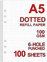 A5 ドットグリッドリフィル用紙 6ホールパンチ、100gsm ホワイトペーパー…