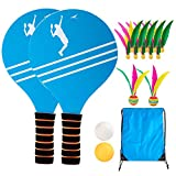 Gmorosa Beach Tennis Badminton Racket Paddle Set with PingPong Balls Shuttlecocks Garden Open Spaces Park Outdoor
