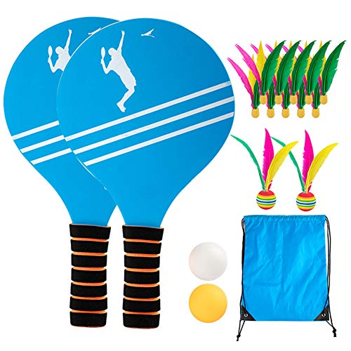 Suppyfly Beach Tennis Badminton Racket Paddle Set with PingPong Balls Shuttlecocks Garden Open Spaces Park Outdoor