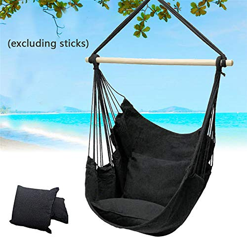 Hanging Chair Hammock Swing Chair Portable Garden Hanging Chair With 2 Cushions Thicken Outdoor Hanging Tree Seat Hanging Seat Outdoor (1 PC, Black)