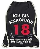 Hariz - Bolsa de deporte con texto en alemán 'Ich Bin knackige 18 veces Knackt Es Hier Mal Knackt es Da 18 cumpleaños de 18 años de edad 18 Plus tarjeta de regalo, color Negro , tamaño talla única