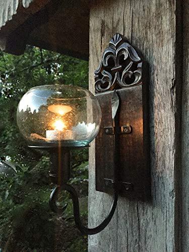 Antikas - Windlicht im Kolonialstil - handgefertigt Wand-Kerzenhalter geschnitzt Glaskugel