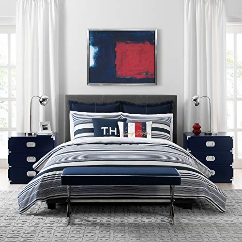 Tommy Hilfiger Island Stripe Duvet Cover Set Full/Queen Navy