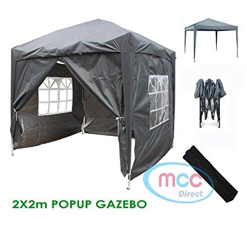 MCC Gazebo Impermeabile Premier 2x2M Gazebo Pieghevole, Tendone a Baldacchino con Strato Protettivo d'Argento [WS] (Grigio)