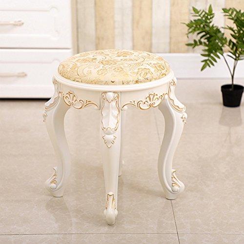 Vast ronde kruk, wit gesneden kunststof make-up kruk plant bloemenpatroon schoenen stoel met 4 poten, 35cm * 43cm 328