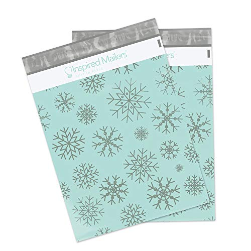 Poly Mailers 10x13 - Silver Snowflakes Deluxe - 100 Pack - 3.15mil Unpadded Holiday Shipping Bags (10x13, 100 Pack)