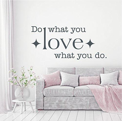 HomeTattoo ® WANDTATTOO Wandaufkleber Do what you love what you do Spruch Wohnzimmer Flur 797 XL ( L x B ) ca. 58 x 130 cm (weiss 010)