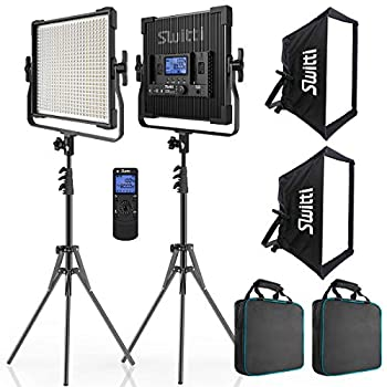 Switti LED Video Light Kit Photography Lights with Stand and Softbox 2 Pack Panel Light for Video Recording Studio Portrait Shooting  45W/600 Pcs LEDs/Dimmable Bi-Color 3000K-8000K/CRI96+